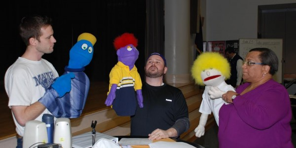 Nathan Roach (left), Matthew Madore (center)and Nancy Dymond (right) rehearse with puppets for a number from the hit-musical &quotAvenue Q.&quot The three will perform this weekend in the Bangor Rotary Club's annual show, &quotMusic Off Broadway.&quot