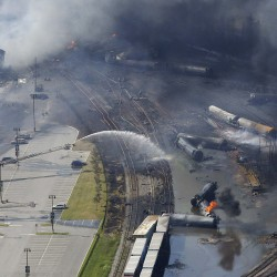 The wreckage of a train is pictured after an explosion in Lac-Megantic, in this file picture taken July 6, 2013.