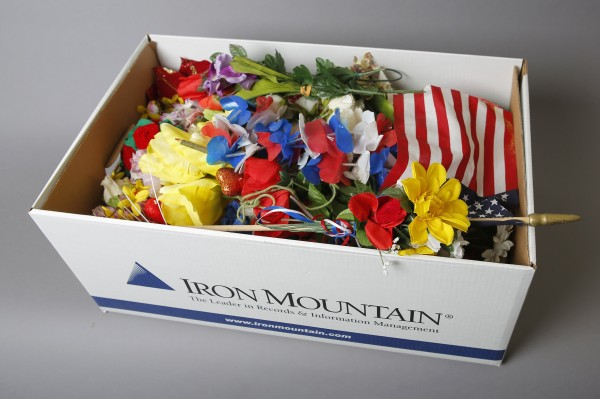A box of artifacts saved from the makeshift Boston Marathon bombing memorial, is seen at the Iron Mountain storage facility in Northborough, Massachusetts March 28, 2014.