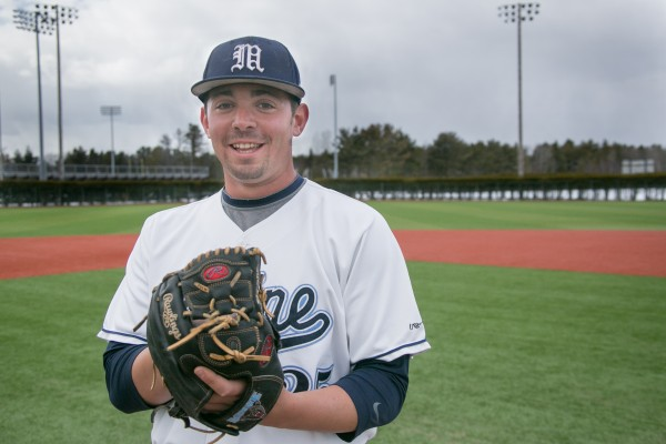 Senior right-hander Tommy Lawrence pitched 7 2/3 innings Saturday in the University of Maine's 5-4 America East baseball victory over UMass Lowell at Lowell, Mass.