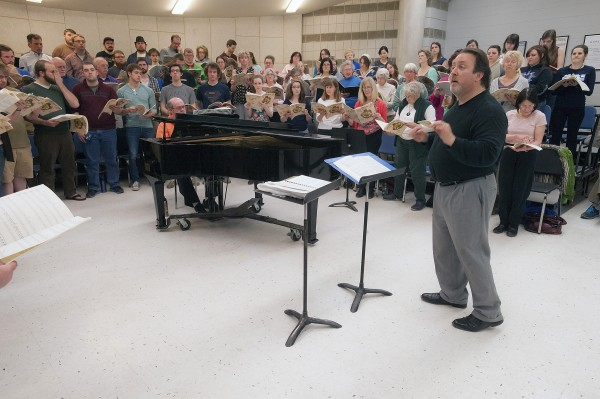 Oratorio Society and University Singers gathered together Monday for a rehearsal with Lucas Richman in Orono for the upcoming Bangor Symphony Orchestra season finale.