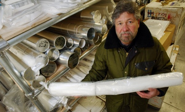 Dr. Paul Mayewski displays an ice core in this file photo. Mayewski is a guest speaker at the Arctic symposium in Bangor.