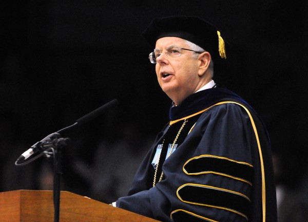University of Maine President Paul Ferguson speaks during the 112th commencement ceremony Saturday at the University of Maine in Orono.
