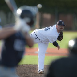 Tommy Lawrence of the University of Maine, pictured during a recent game in Orono, pitched the Black Bears to a 1-0 win over Stony Brook in the first game of Saturday's