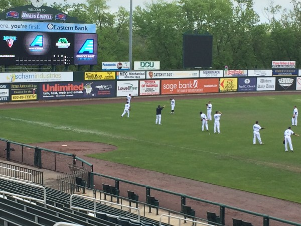 The University of Maine baseball team warms up in the outfield in preparation for Friday's America East tournament game against Binghamton in Lowell, Massachusetts.