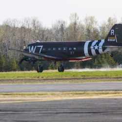 Whiskey 7 C-47 military transport plane stops in Presque Isle