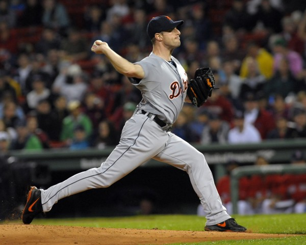 Detroit Tigers starting pitcher Max Scherzer pitches during the fourth inning against the Boston Red Sox at Fenway Park in Boston Friday night.