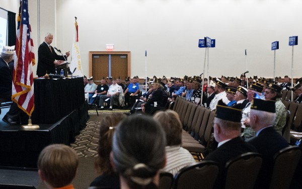 Congressman Mike Michaud speaks at the American Legion convention Saturday at the Cross Insurance Center in Bangor.