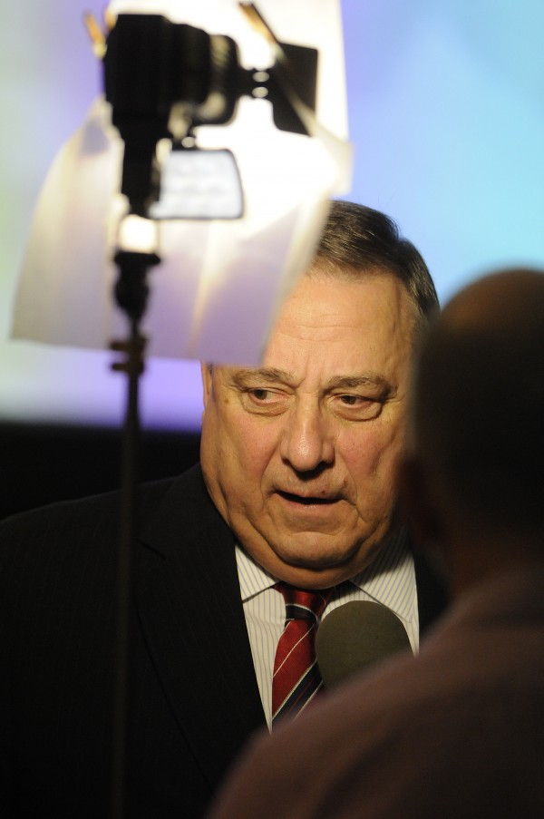Governor Paul LePage gives an interview with a Canadian TV station March 19.