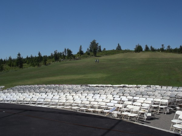 From the stage of Balsam Valley Amphitheater, you can see  reserved seats and a grassy hillside where thousands more can sit and watch. The estimated capacity is about 16,000.