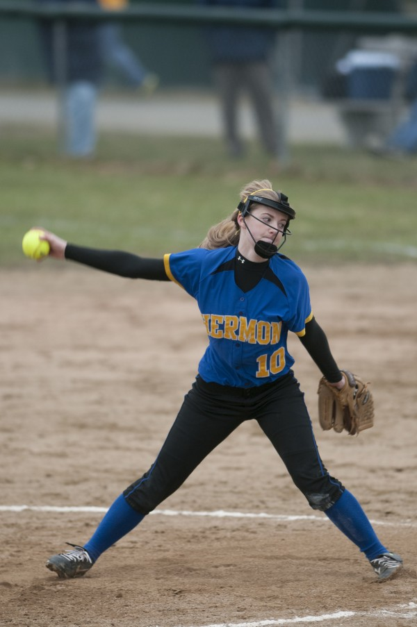 Hermon pitcher Allessa Oakes winds up a pitch against Old Town in this April 2013 file photo.