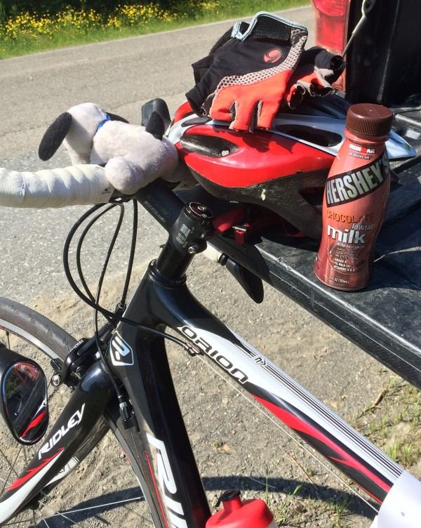 Nothing beats chocolate milk for taste and recovery after a bike ride. When consumed within 30 minutes after exercise, it contains the near-perfect ratio of carbohydrates to protein for optimum muscle recovery.