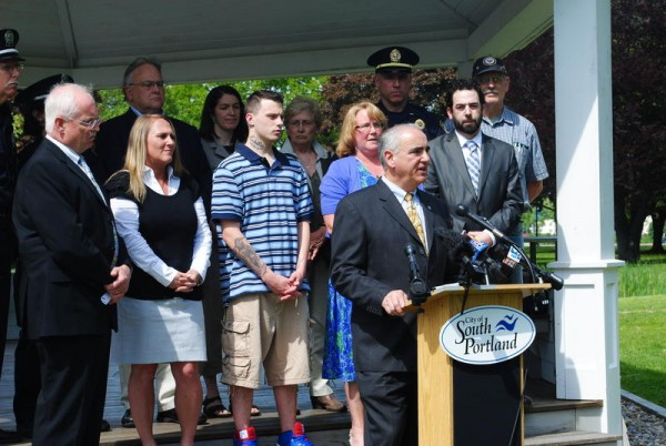 South Portland officials gather in Mill Creek Park on Monday afternoon to voice their opposition to legalizing recreational marijuana use.