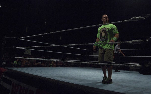 John Cena gets ready to wrestle during WWE Live in Bangor Saturday at the Cross Insurance Center.