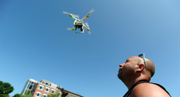 Bangor-based photographer Monty Rand operates a quadcopter he uses for aerial photography.