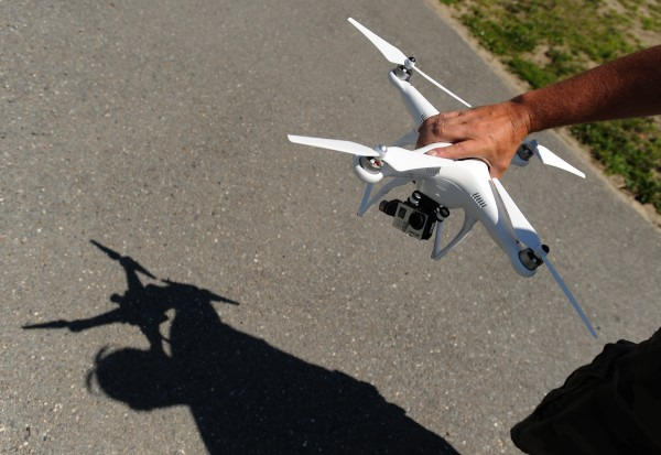Bangor-based photographer Monty Rand shows the quadcopter he uses to capture aerial views.