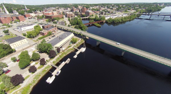 Monty Rand captured this aerial view of Bangor. Seen on the right is the Penobscot River.