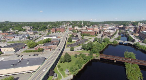 Monty Rand captured this aerial view of Bangor. Seen on the right is the Kenduskeag Stream.