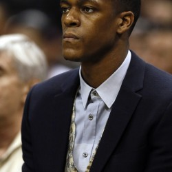 Boston Celtics guard Rajon Rondo (9) watches the action from the bench during the first half against the San Antonio Spurs at AT&T center in this 2013 photo.