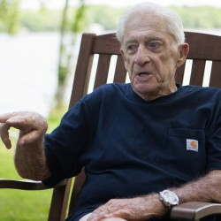 "Donn Fendler reflects on the 75th anniversary of his being ""Lost on a Mountain in Maine"" on July 24 at his camp in Newport."