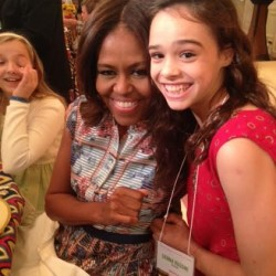"Sienna Mazone (right) met Michelle Obama during the Kids' ""State Dinner"" for the Healthy Lunchtime Challenge on July 18 at the White House."