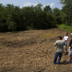 (From left) Jeremy Guerrette, Dustin Ramsey, and Mike Bisson look over a recently cleared area on July 23 that will soon be part of the Reeds Brook Trails in Hampden .