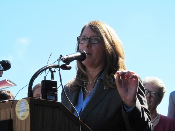 Christie Hager, New England regional director of the U.S. Department of Health and Human Services, discusses the launch of health insurance marketplaces as part of President Barack Obama's signature health care reform law in Portland in this October 2013 file photo.