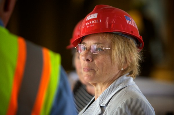 Maine Attorney General Janet Mills tours the new Capital Judicial Center in Augusta on Thursday.