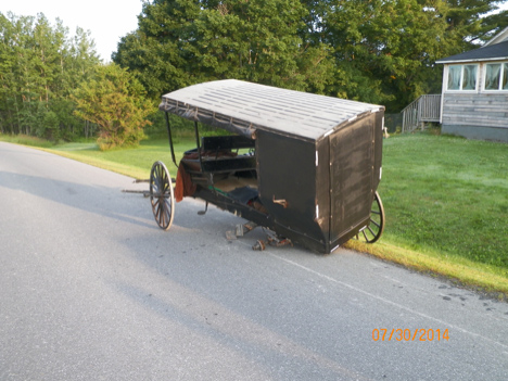An Amish buggy was stuck by a car on Wednesday in Easton.