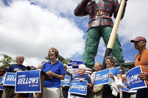 U.S. Senate candidate Shenna Bellows spoke in front of Paul Bunyan during her campaign stop in Bangor on Tuesday as part of her campaign trek across Maine.
