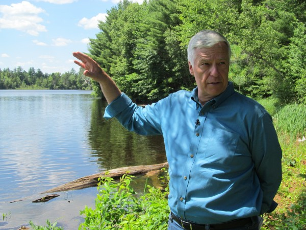 Mike Michaud, the Democratic nominee in the 2014 governor's race, reflects on his future after politics at a piece of property he owns in Medway on Saturday.
