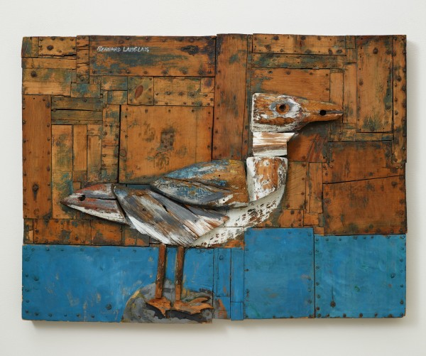 &quotThe Monitor or the Merrimack (Gull on Pile)&quot by Bernard Langlais is on display at Colby College Museum of Art as part of a retrospective of the Maine's artist work.