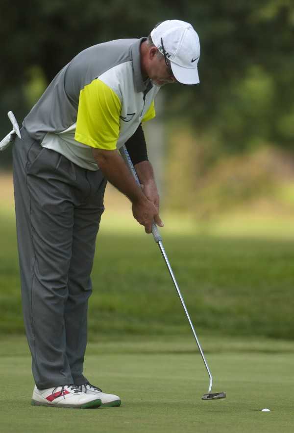 John Hickson putts during the second round of the Greater Bangor Open Friday at the Bangor Municipal Golf Course.