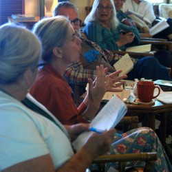 Author Suzanne Strempek Shea (second from left) leads a discussion at a prose writing conference sponsored by the Cobscook Community Learning Center on Campobello Island recently. She served on the faculty and taught short fiction.