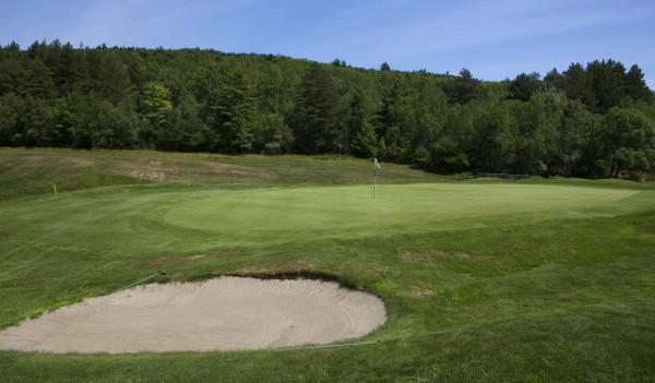 Kebo Valley Golf Club's hole number nine is seen at Kebo Valley Golf Club in Bar Harbor. Hole number nine has been selected as one of Maine's toughest golf holes for a stream surrounding a banked green.