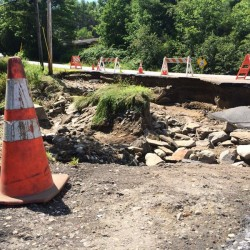The Aug. 14 aftermath of Upper Mast Landing Road in Freeport after an Aug. 13 storm.