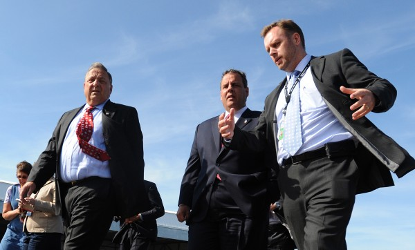 Gov. Paul LePage (left) and New Jersey Gov. Chris Christie with C&L Aviation CEO Chris Kilgour (right) during a brief tour of C&L Aviation on Tuesday in Bangor.