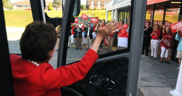 U.S. Sen. Susan Collins waves to supporters as she leaves her campaign headquarters in Bangor to embark on her cross-state bus tour Tuesday.
