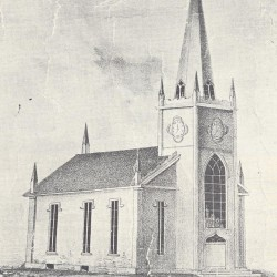 This illustration shows how the Cedar Street Baptist Church in Rockland appeared in 1855.