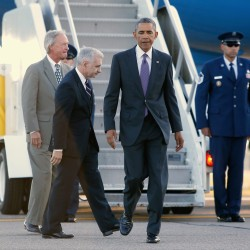 President Barack Obama arrives at T.F. Green Airport in Warwick, Rhode Island, on Friday for an event in nearby Newport, Rhode Island.