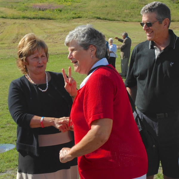Maine's First Lady Ann LePage (left) jokes about her upcoming parachute jump at this weekend's Freedom Fest with Francis LaBrie of Fort Kent and Norman Guy. The three attended the Fort Kent breakfast Friday celebrating the opening of the 2014 World Acadian Congress.