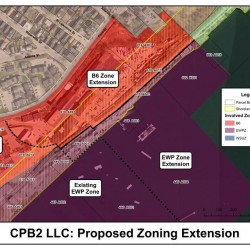 CPB2 LLC, the owners of the Portland Company Complex at 58 Fore St. would like to extend adjacent mixed-use zones to 10 acres of their land and 13 acres of submerged land.