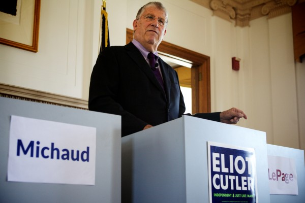 Independent gubernatorial candidate Eliot Cutler slammed rivals Paul LePage and Mike Michaud on Monday in Portland for not agreeing to more debates before the fall election. Cutler said the party candidates are scared the forums could hurt their efforts to get out early absentee votes.