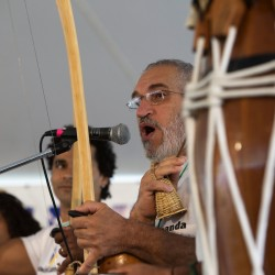 Members of Capoeira Luanda of New York City perform Capoeira music and dance during the 2014 American Folk Fest on Saturday.