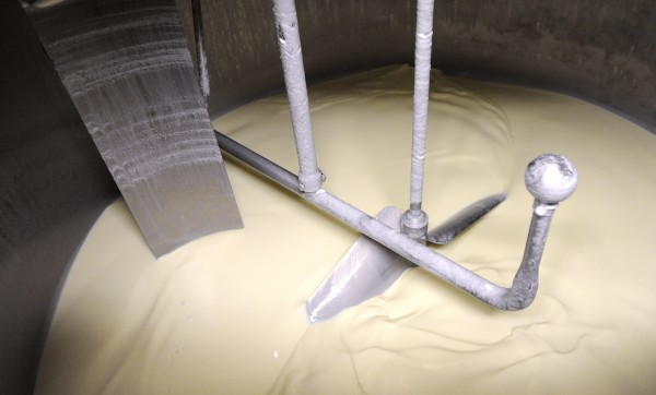 A batch of plain ice cream is mixed before flavoring is added at the Skowhegan-based Gifford's Famous Ice Cream company.