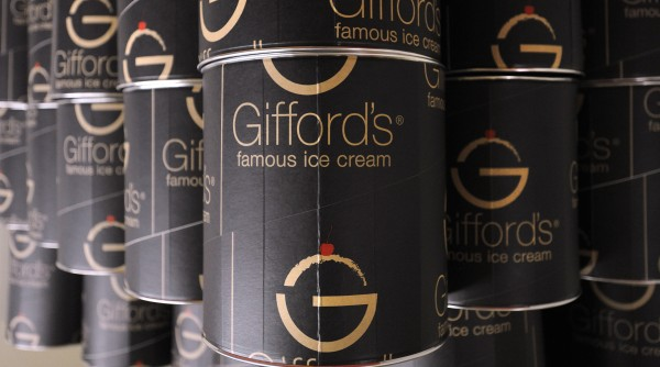 Ice cream containers at the Skowhegan-based Gifford's Famous Ice Cream company.