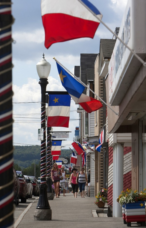 Acadian flags and decorations adorn Main Street in Madawaska Friday in celebration of the 2014 World Acadian Congress.