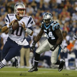 New England Patriots quarterback Jimmy Garoppolo (10) drops back to pass against the Carolina Panthers in the second half at Gillette Stadium in Foxborough, Massachusetts, Friday night. The Patriots defeated the Panthers 30-7.
