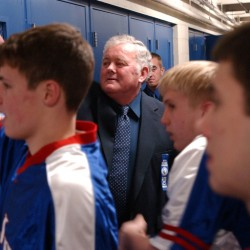 "Longtime Jonesport-Beals boys basketball coach Ordman ""Ordie"" Alley gets ready to lead his team onto the Bangor Auditorium for the Royals' 2005 Eastern Maine Class D quarterfinal against Lee Academy"