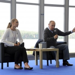 Russian President Vladimir Putin attends the all-Russian youth forum Seliger held in Tver region, August 29, 2014.